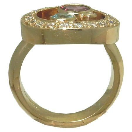 Garnet Ring with Blue Zircon and Diamonds
