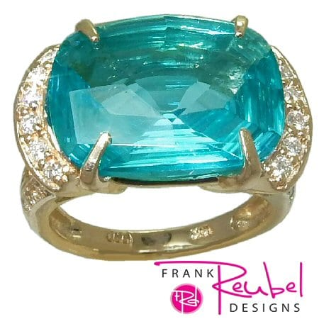 lue Topaz Ring (Caribbean) with 0.51 cttw. Diamonds