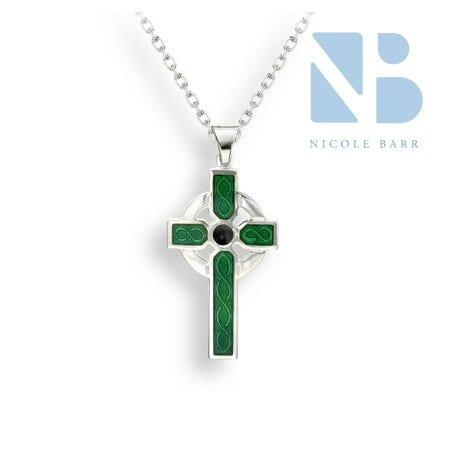 Green Enamel Celtic Cross