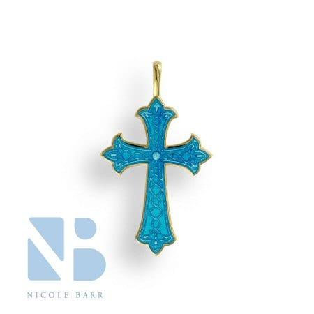 Blue Enamel Cross in 18K