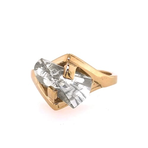 Yellow Gold White Sapphire ring front