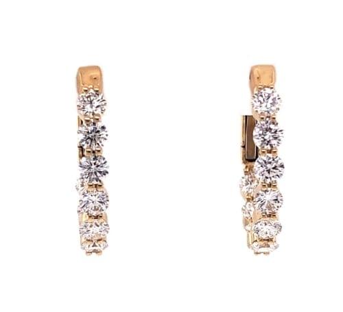 Diamond Hoop yellow gold earring front