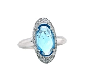 Blue Topaz Ring with 0.26 cttw. Diamonds in 14 kw
