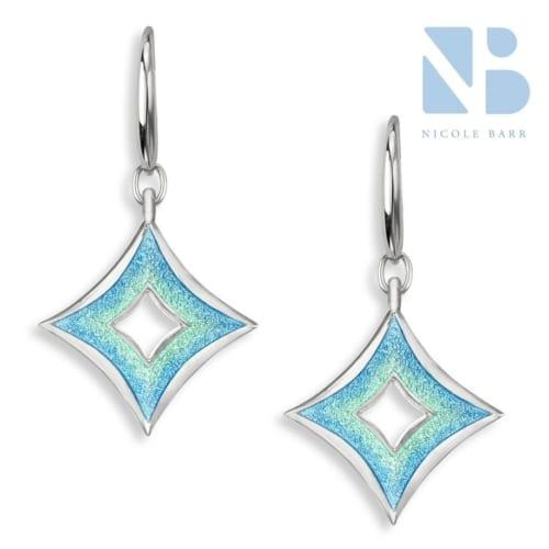 open cross blue earrings