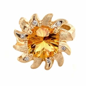 Gorgeous one of a kind citrine ring designed and made by Gold In Art Jewelers.