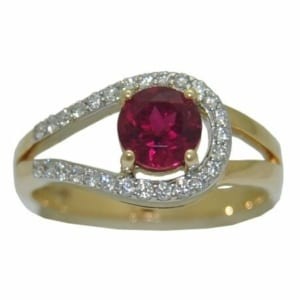Natural Rubellite ( PinkTourmaline) with .24cttw Diamonds